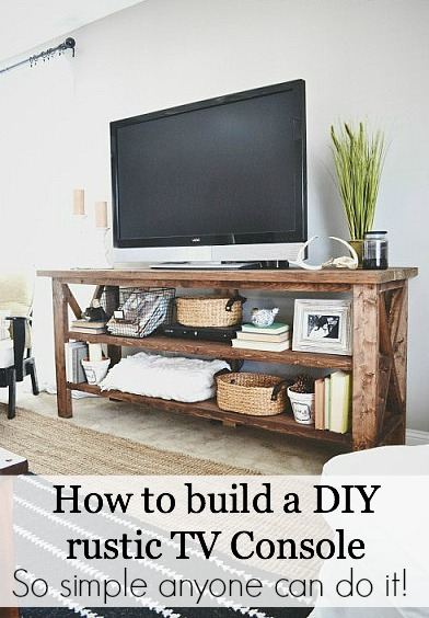 Diy tv console how to build a diy rustic tv console so easy solutioingenieria