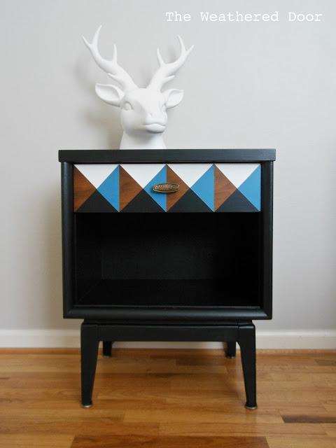 geometric black nightstand WD 10