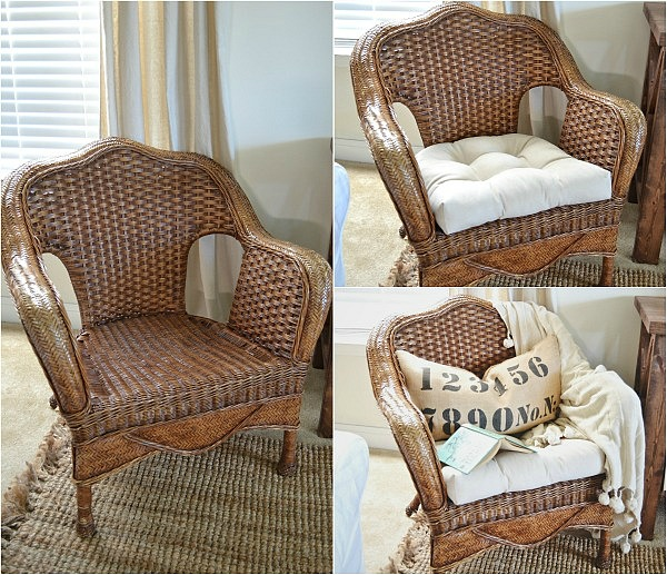 Delicieux Thrifted Wicker Chair Makeover   Lizmarieblog.com