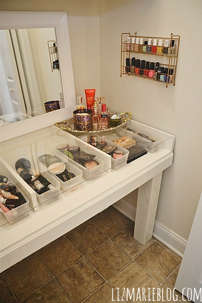 DIY Glass Top Vanity Desk - Directions on how to make your own at  lizmarieblog. - DIY Glass Top Makeup Vanity - Liz Marie Blog