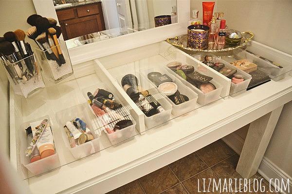 Makeup Vanity Organizer Diy: DIY Glass Top Makeup Vanity