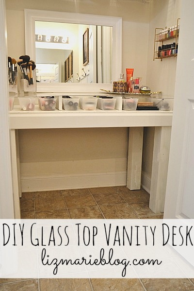 Captivating DIY Glass Top Vanity Desk   Directions On How To Make Your Own At  Lizmarieblog.
