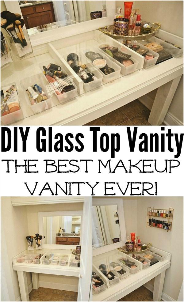 DIY Glass Top Makeup Vanity - Liz Marie Blog