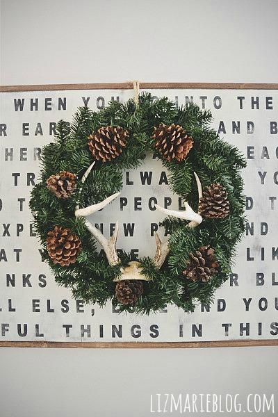 Rustic DIY Pinecone Wreaths - Lizmarieblog.com