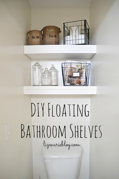 DIY Floating Bathroom Shelves   Lizmarieblog.com