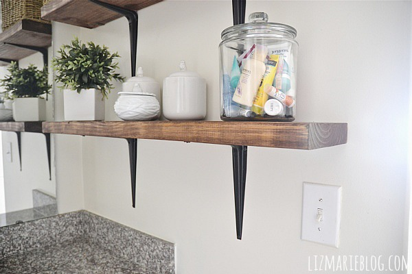 Spectacular DIY rustic bathroom shelves So easy lizmarieblog