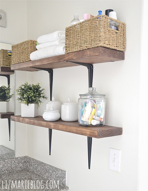 New DIY rustic bathroom shelves So easy lizmarieblog