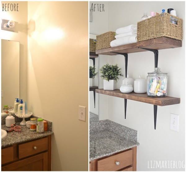 Beautiful DIY rustic bathroom shelves So easy lizmarieblog