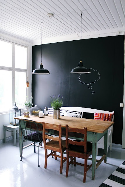 Great Trend To Love: Dining Room Chalkboard Wall   Lizmarieblog.com