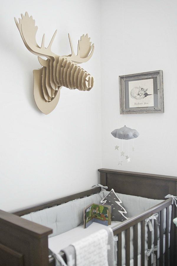 Gray nursery - gender neutral nursery that is a shared room.