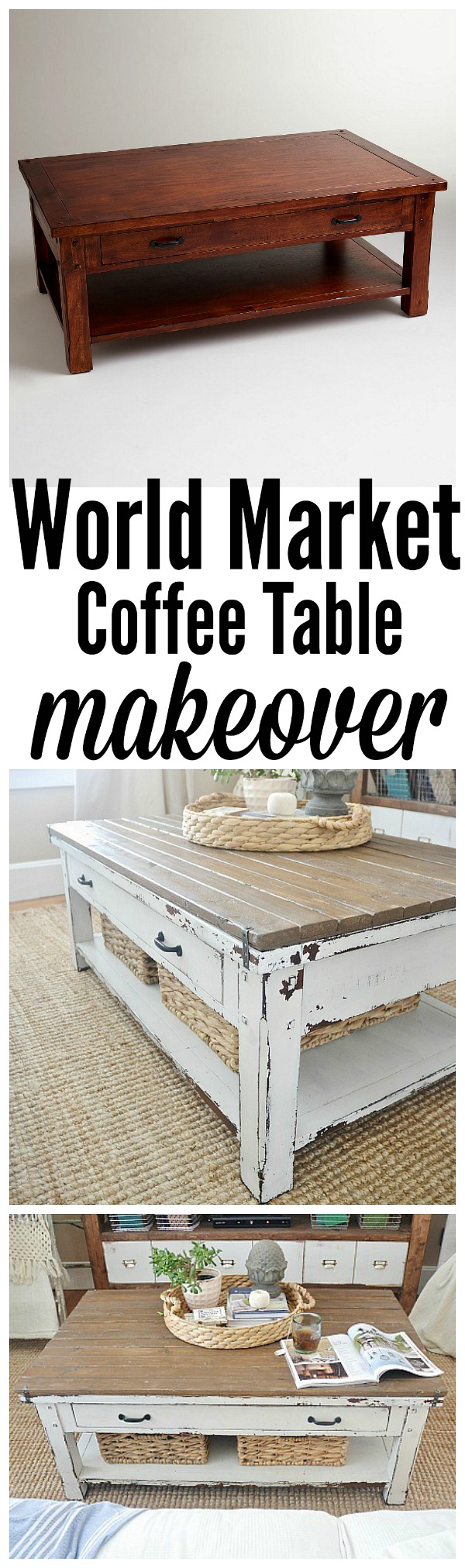 DIY World Market Coffee Table Makeover