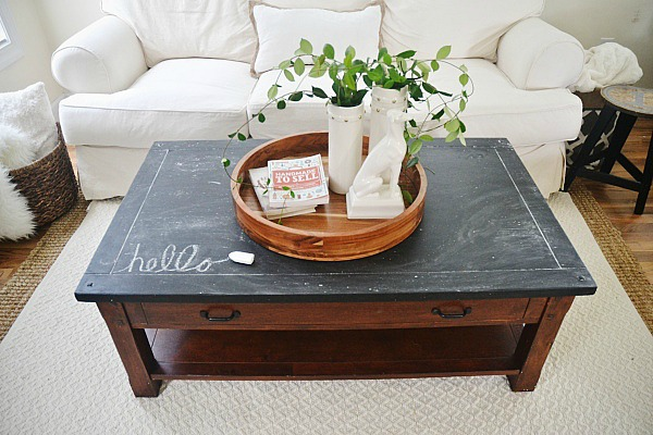 chalkboard top coffee table makeover liz marie blog