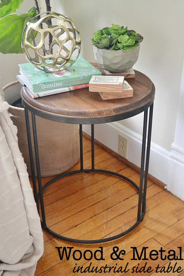 Wood And Metal Bedside Table: Wood And Metal Industrial Side Table