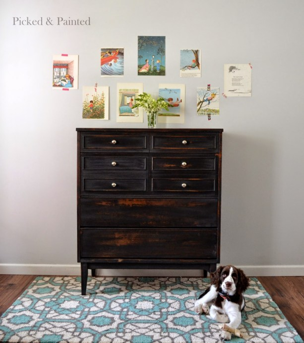 picked and painted black dresser milkpaint springer spaniel mid century modern