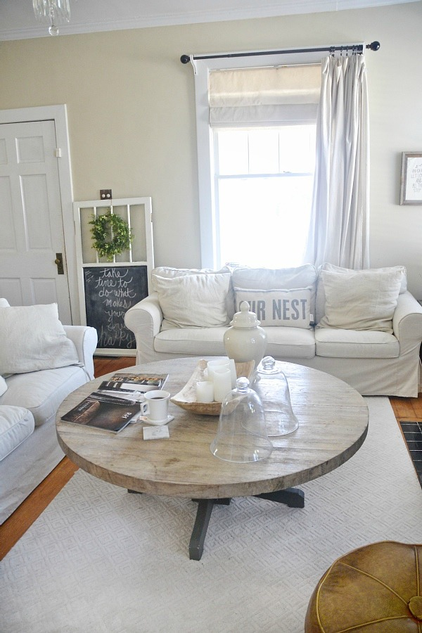 diy round coffee table liz marie blog. Black Bedroom Furniture Sets. Home Design Ideas