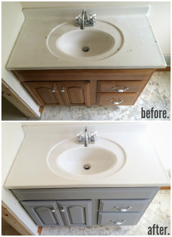 can you paint bathroom cabinets painted bathroom vanity michigan house update liz 22854