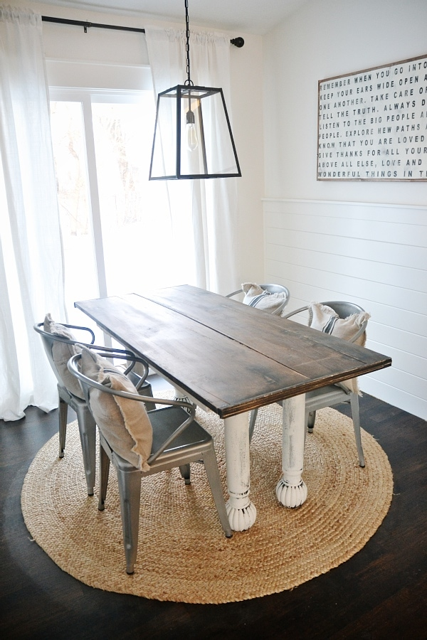 New Farmhouse Table Dining Room The Before Liz Marie Blog - White and wood farmhouse table