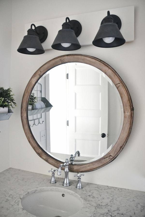 Diy farmhouse bathroom vanity light fixture liz marie blog for Farmhouse bathroom light fixtures