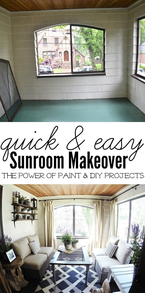 Dramatic sunroom makeover -  A must see! With some paint, a few DIY's, & some new items this room went from bland to fabulous! A must pin!