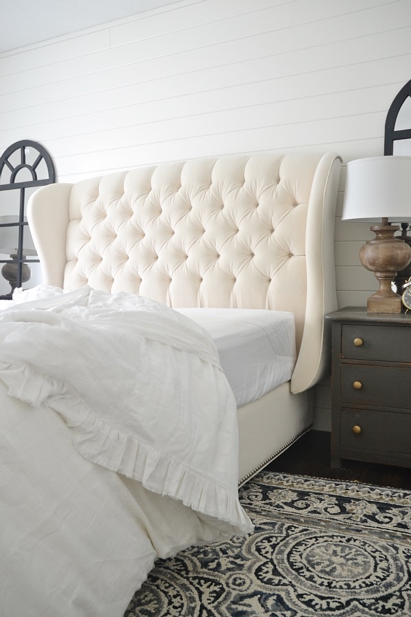 Inspirational We went with the Barrister Upholstered Queen Bed with platform in ivory I have no words for how fabulous it is The detail in person is just insane