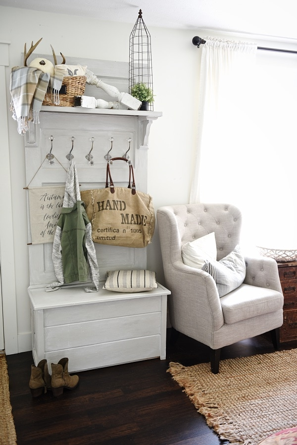 DIY hall tree - Made from an old door! Such a simple build & great for a small entryway for function and beauty!