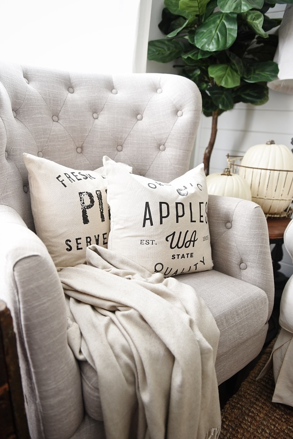 Cozy Neutral Living room - handmade neutral pillows