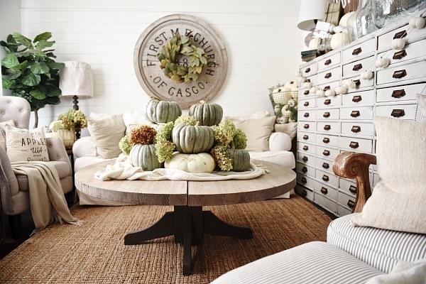 Fancy Neutral fall home decor Heirloom pumpkin coffee table