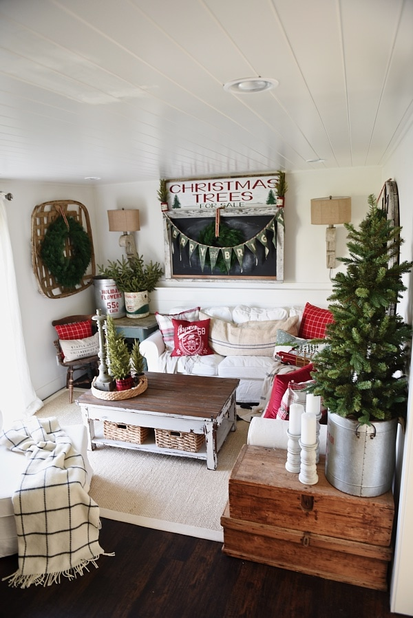 Cozy Rustic Christmas Cottage Living Room - Liz Marie Blog