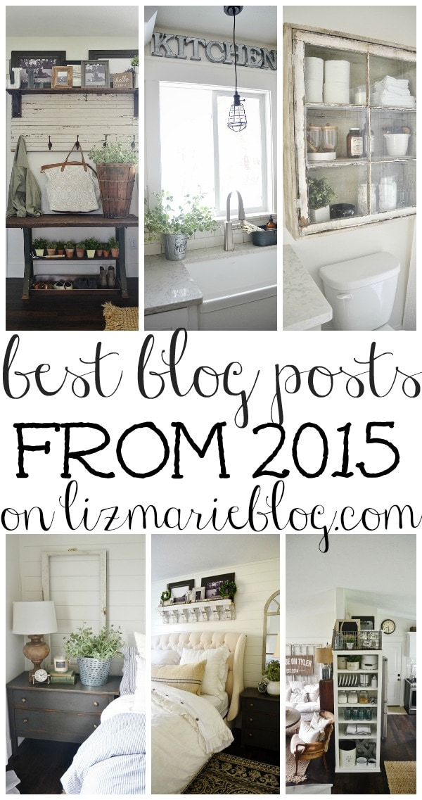 Best blog posts from 2015 on Lizmarieblog.com -  A great pin filled with DIY projects & home decor inspiration all in one place!! A must pin for inspiration from all your projects in the new year.
