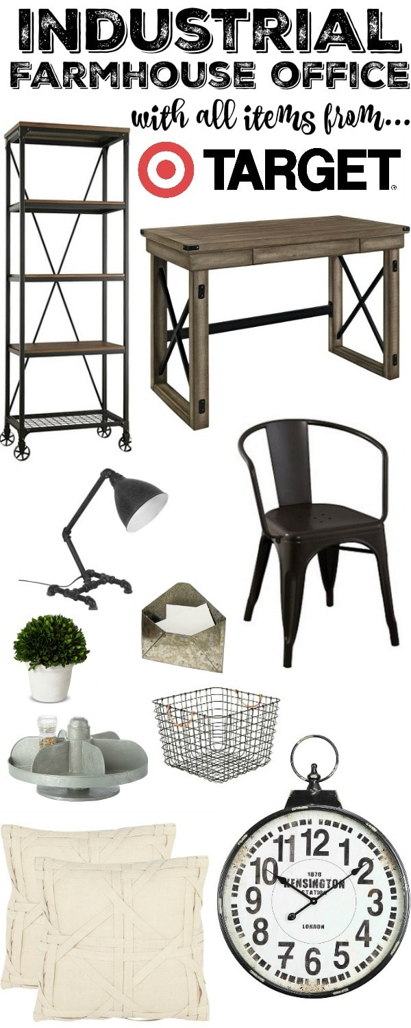 Industrial Farmhouse Office - With all Target Items!! Shop this look on the blog & get this look for your home.