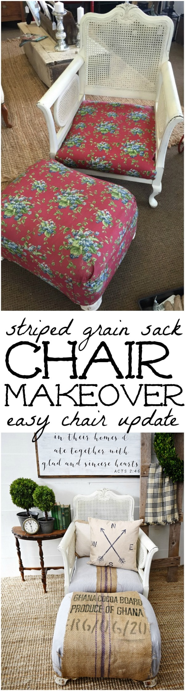 Super easy chair makeover -striped grain sack cozy chair makeover