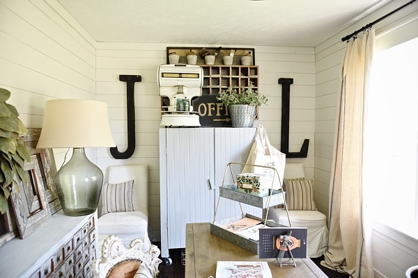 Farmhouse style office makeover - From drab to fabulous farmhouse office. Get decor sources & how this office went from an 80's tri-level to the character of a farmhouse.