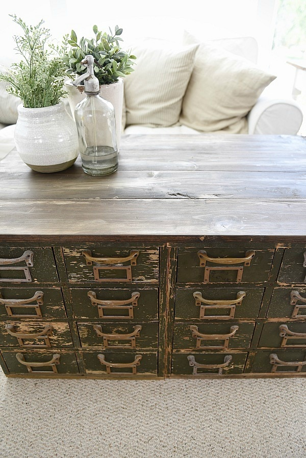 Trend Rustic Green card catalog coffee table A great source for farmhouse decor