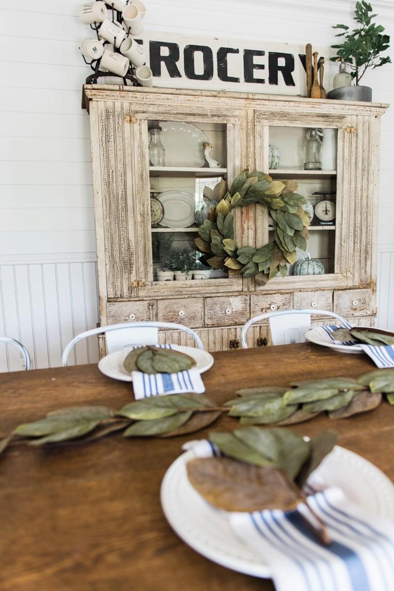 primitive living room furniture. Primitive Dining Room Hutch. Neutral Farmhouse Room. Shiplap Walls, Furniture, Living Furniture