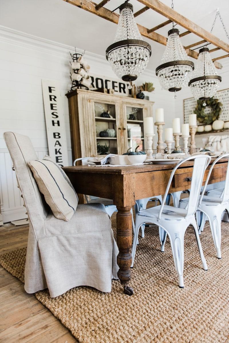Simple  Neutral Fall Farmhouse Dining Room  Liz Marie Blog
