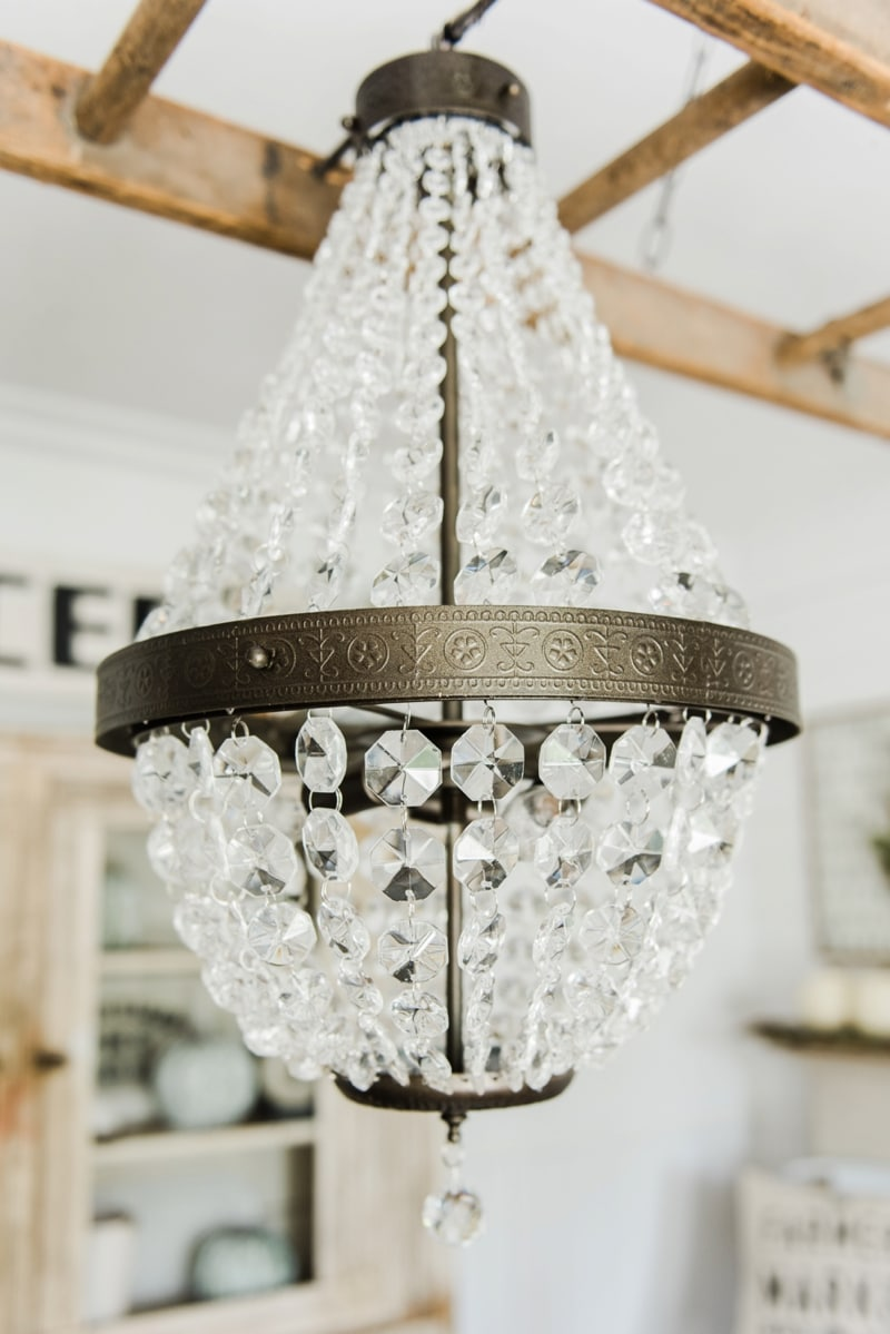 Popular Farmhouse dining room makeover Crystal chandelier update