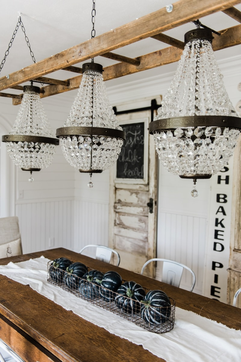 Cute Farmhouse dining room makeover Crystal chandelier update