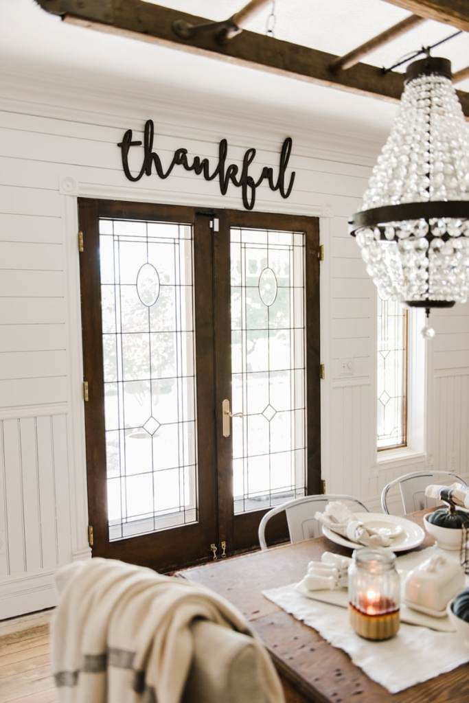 Neutral rustic fall decor - Wood cursive word art. Wooden thankful sign.