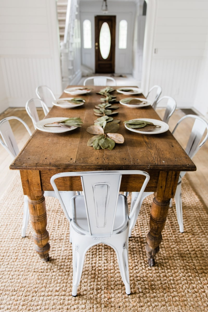 Simple White farmhouse Metal Chairs Dining Room Decor by Liz Marie Blog Farmhouse dining room