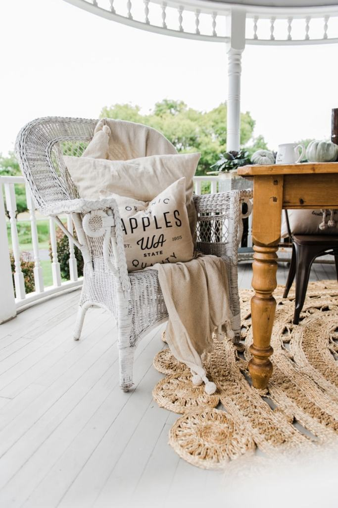 Neutral rustic farmhouse fall porch - fall in the gazebo