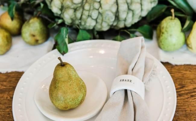 Happy Fall Rustic Pumpkin Pear Farmhouse Table Liz