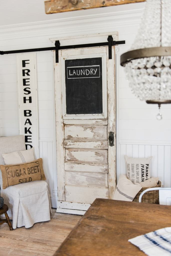 Sliding barn door laundry room door liz marie blog for Farm door ideas