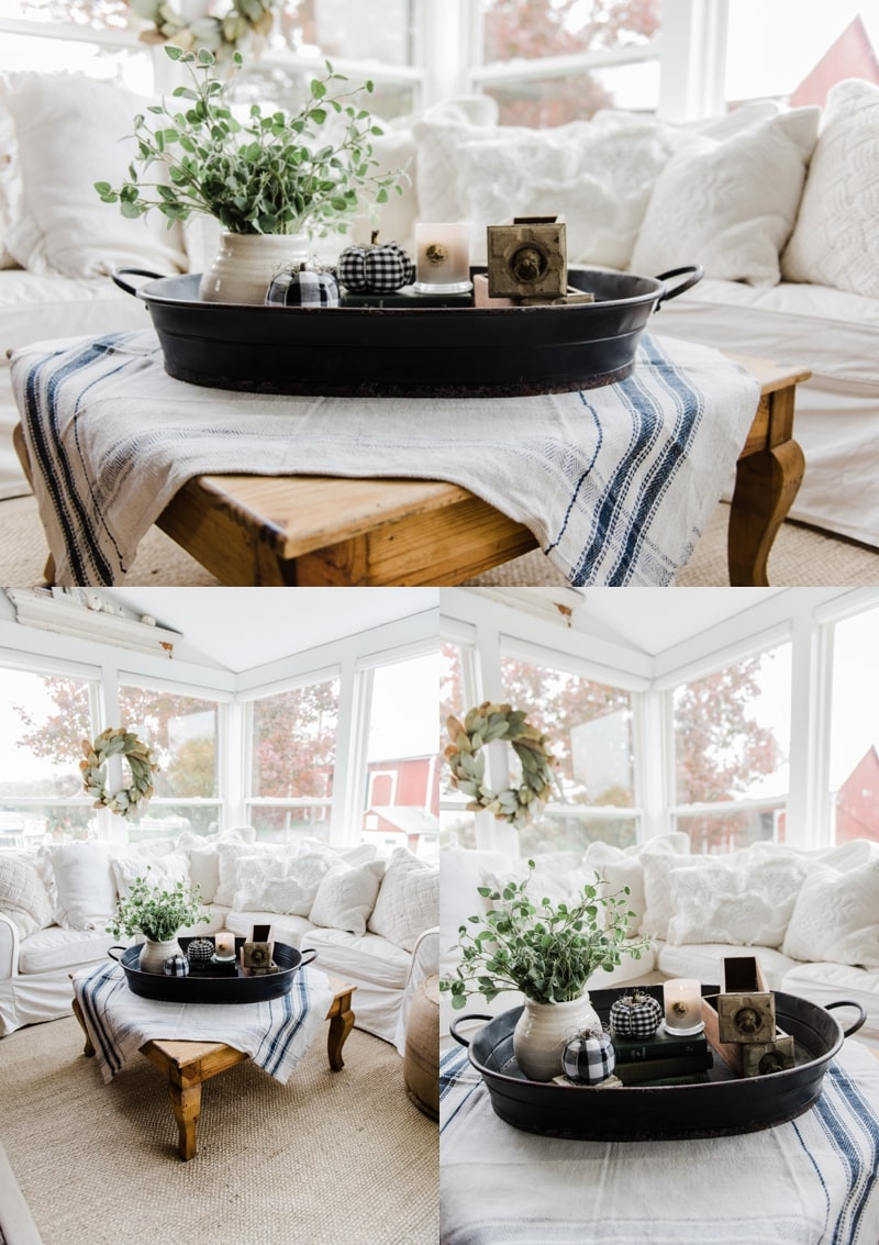 Farmhouse Style Coffee Table In The Sunroom   A Lovely Warm Wood Style  Coffee Table Style