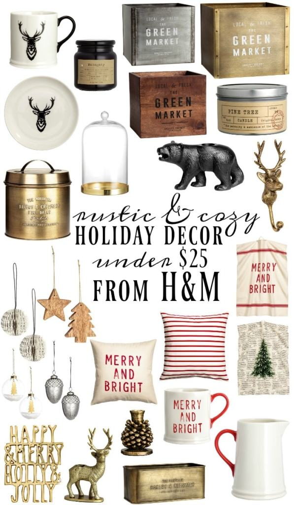 The best Christmas decor from H&M all under $25!! Great farmhouse style inspiration & holiday decor ideas.. a must pin!