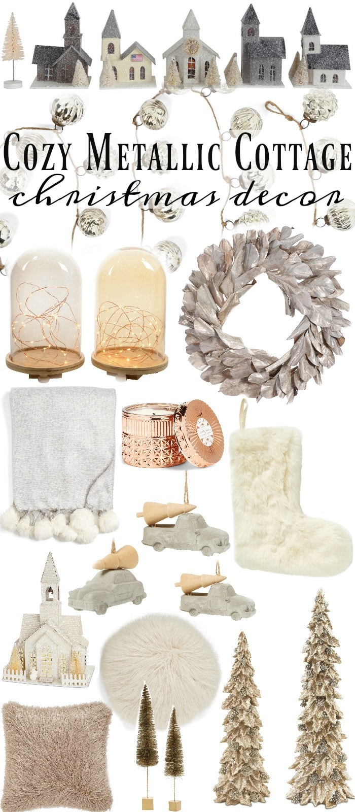 Cozy Metallic Cottage Christmas decor - Great inspiration for a cozy neutral metallic holiday look!