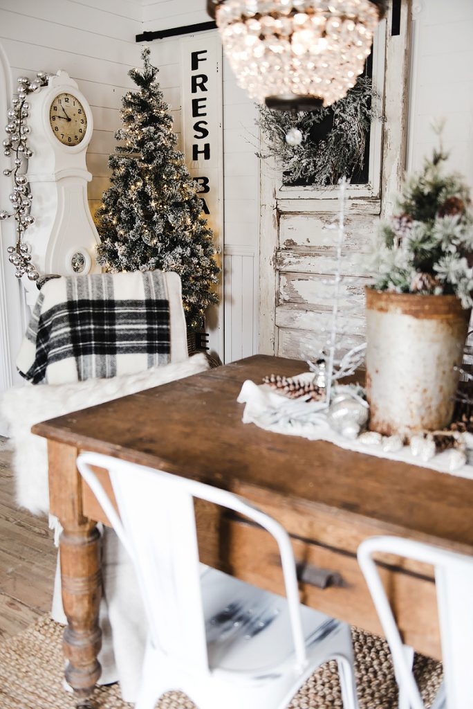 Rustic Glam Christmas Farmhouse Dining Room