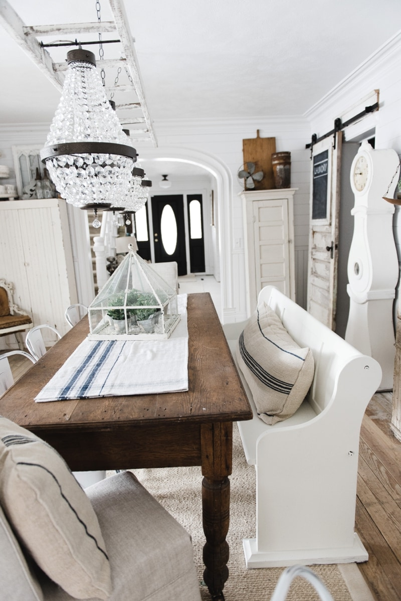 farmhouse kitchen table with bench renovating church pew makeover - liz marie blog