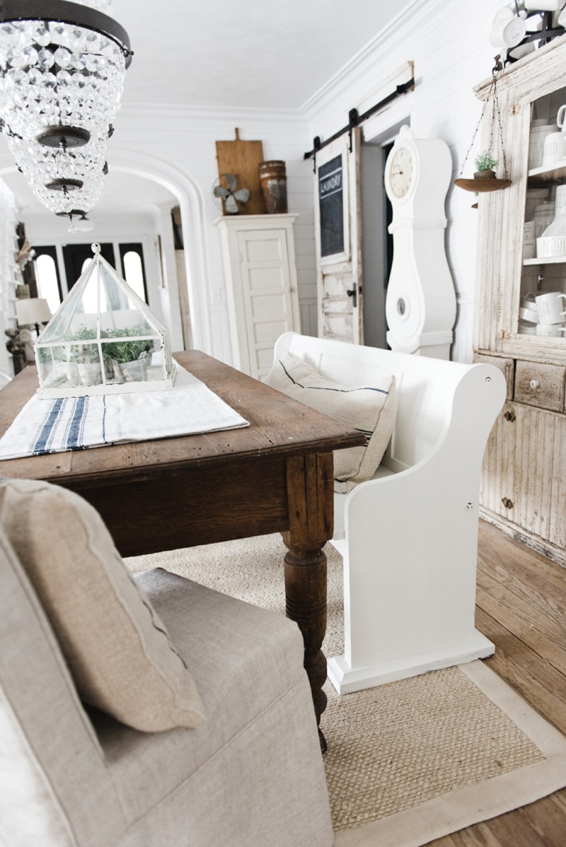my idea was to move the church pew bench into our dining room to use at our antique farmhouse table u0026 since the table is a beautiful dark wood i chose to