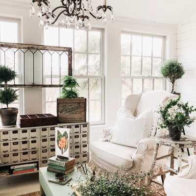 A Crystal Garden Chandelier In The Sunroom