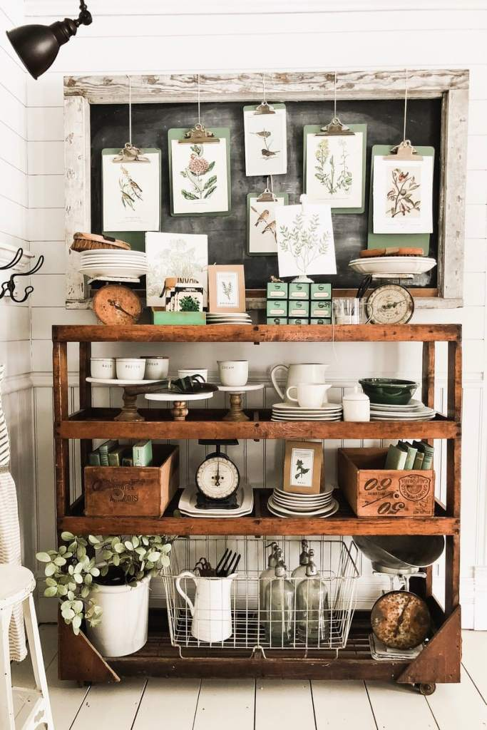 Ive Had This Antique Rolling Rack Here For Quite A While Its So Fun To Style In Space I Usually Keep An Overflow Of Our Dishes Other Dining Room